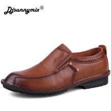 ca77c56e DJSUNNYMIX marca moda cuero genuino hombres de negocios zapatos de cuero  marrón negro Oxford zapatos para