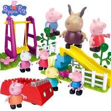 Peppa George Pig Family font b toys b font friends school Playground Scene Brick Building Blocks