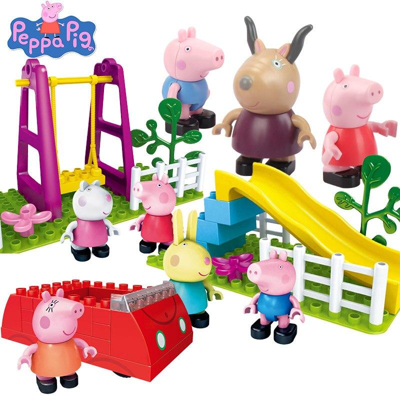 Peppa Pig George giocattoli Familiari amici scuola Scena Parco Giochi Mattoni Blocchi di Costruzione decorazioni per le feste Per Bambini Giocattoli Educativi