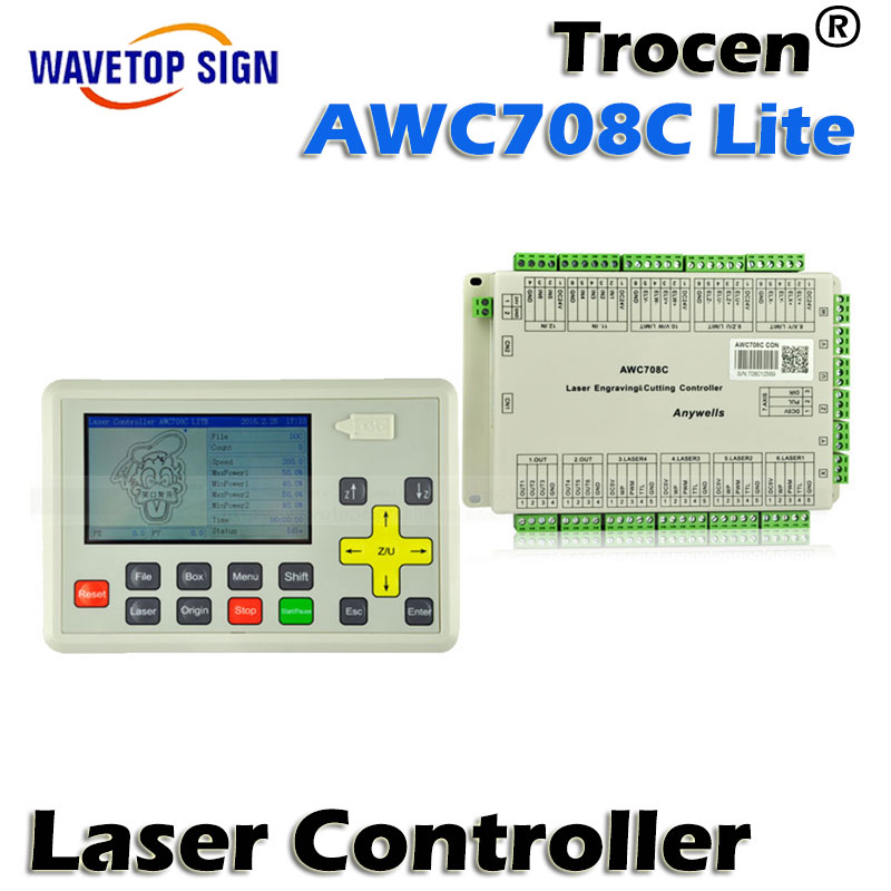 free shipping Trocen Anywells AWC708C Lite Laser Controller System For Co2 Laser Engrave Machine 3040 co2 laser engrave machine laser marking machine cut plywood 50w laser free shipping