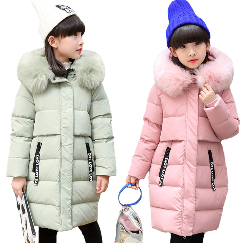 Russia Winter 2018 Girls Down Jackets Raccoon Fur Collar Long Warm Girl Thick Coat Children Outerwear Hooded Parka Kids Overcoat winter girl jacket children parka winter coat duck long thick big fur hooded kids winter jacket girls outerwear for cold 30 c