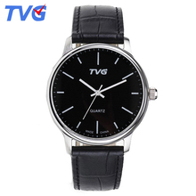 185 new 2016 Minimalist Men Leather Strap Quartz Watch TVG Brand Top Creative Design Quartz-Watch fashion Ultra Thin Casual watc