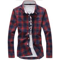 MarKyi 2017 Plaid Slim Fit de Manga Larga Camisa Hombre Casual más el Tamaño 5XL de Los Hombres Camisas de Vestir de Algodón Chemise Homme Sociales camisas
