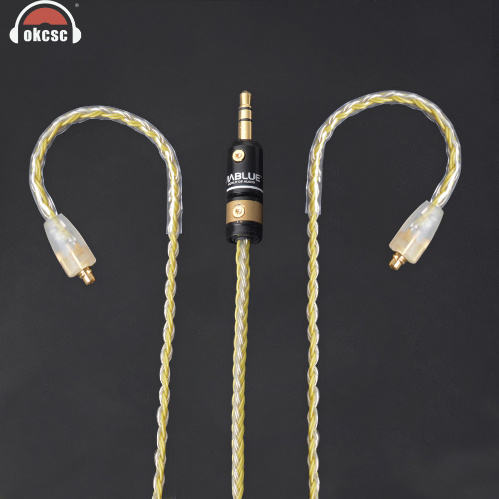 OKCSC MMCX Cable 3.5mm Audio Stereo Plug Upgrade Cables Interface Copper Earphone Cords for SHURE SE215 Westone MAGAOSI