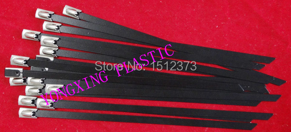 2017 freeshipping 25pcs/lot 12x350 to 12x1000 304 stainless steel cable tie wrap wrie  pvc coated black color 100pcs lot stainless steel cable tie 7 9x1200 for wire cable