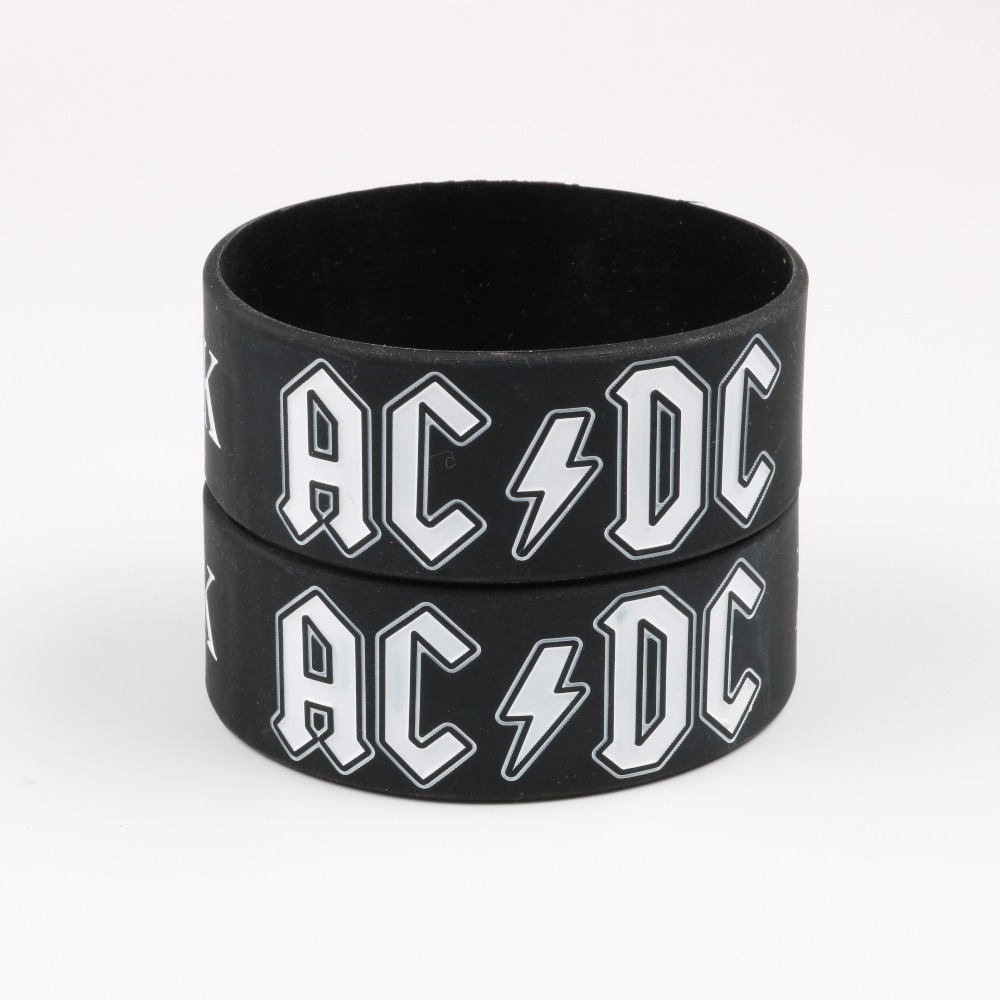 2018 New Arrival AC/DC Silicone Bracelet Heavy Metal Music Band Symbol Wristband acdc Rock and Roll Band Culture