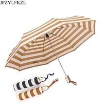 JPZYLFKZL Automatic 8K Men Womens Fashion Stripes Lattice Sunshade UmbrellaAnti-UV Windproof Three Folding Umbrella Corporation