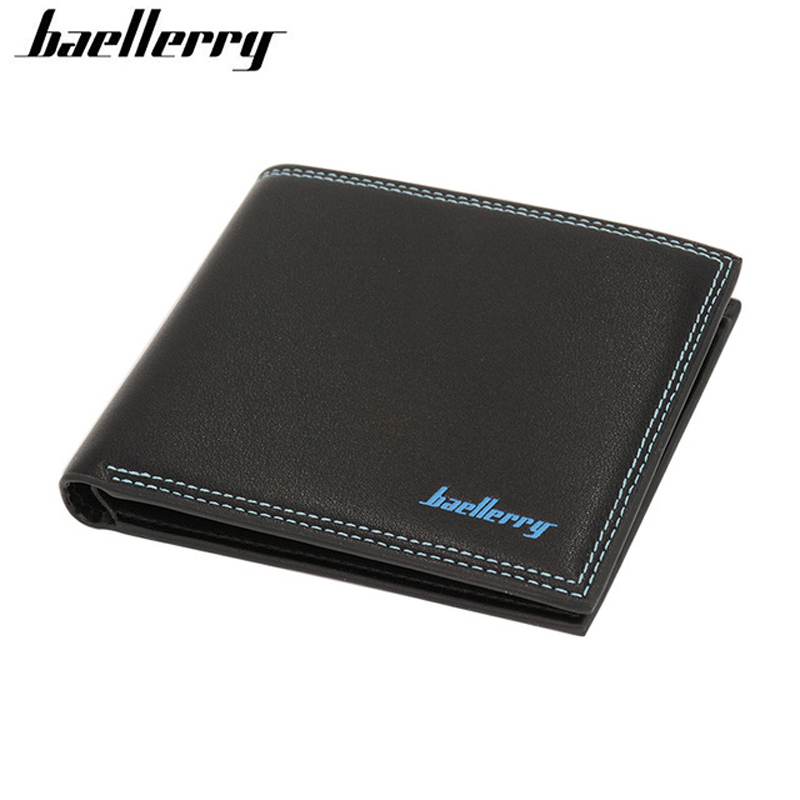 New Men Short Wallets Black Bifold Brand Leather Wallets Design Wallet with Coin Pocket for Mens Card Holder Money Purses 2017 coffee new brand men wallet leather pouch dollar designs with card holder bag short wallets money carteira feminina c056