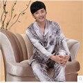 Новый Роскошный пижамы Мужчин Кардиган Пижамы Шелка с длинными рукавами Атласа Мужские Пижамы мужской Салон Пижамы Набор Плюс Размер 4XL
