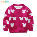Hot Sale 2017 European and American Style Children's Cardigan Cartoon Mouse Knitted Sweater 100% Cotton Girls Outwear CMB224