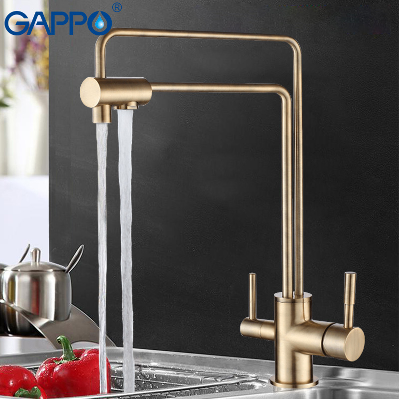 GAPPO water filter taps kitchen sink faucet torneira water mixer Brass kitchen Mixer drinking water filter taps GA4398-5/4398-6 sognare 100% brass marble painting swivel drinking water faucet 3 way water filter purifier kitchen faucets for sinks taps d2111