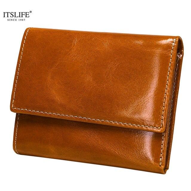a166618a8 Nueva cartera corta de cuero genuino con bloqueo RFID para mujer, Mini  monedero pequeño con