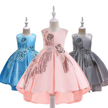 Summer Girl Embroidery Sequined Princess Dress for Wedding party Kids Dresses Toddler Children Fashion Easter Clothing
