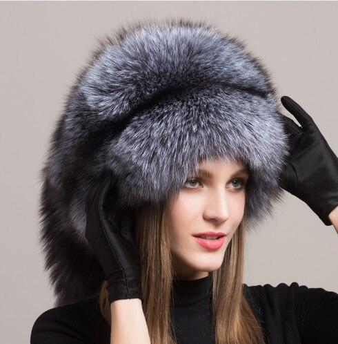 Winter Women Fur Cap Real genuine natural Fox Fur Hats Headgear Russian Outdoor Girls Beanies Cap