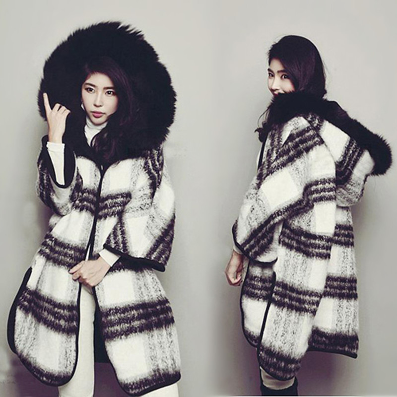 Winter Both Sides Wear Loose Black And White Lattice Coat Large Fur Collar Cloak Thick Hooded Wool Warm Plaid Jacket MZ1938 фил коллинз phil collins both sides 2 lp