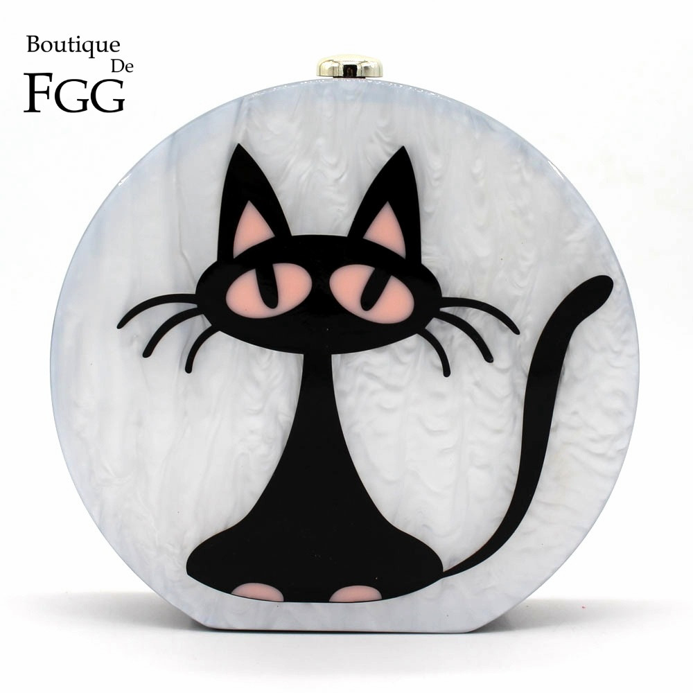 ФОТО Round Circular Acrylic Bolsas Little Black Cat Cartoon Print Women Evening Party Cocktail Handbags Clutch Hard Case Shoulder Bag