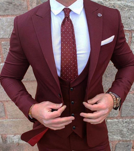 (Jacket+Pant +vest)Burgundy Mens Suits Groom Wear Tuxedos 3 Piece Wedding Suits Groomsmen Best Man Formal Business Suit For Men(China)