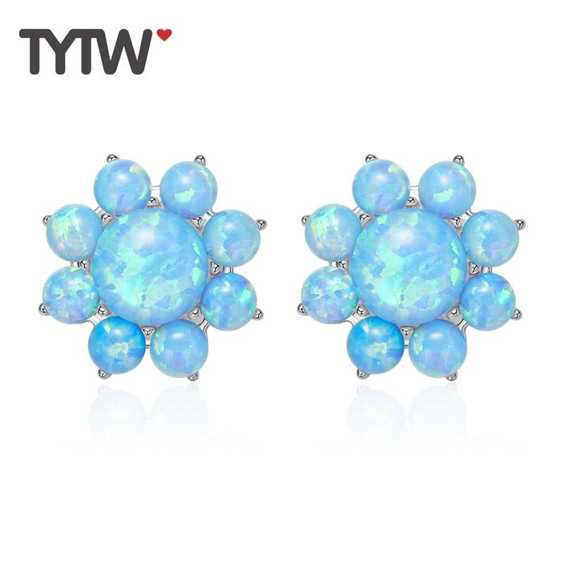 TYTW 925 argent Sterling opale gem femelle Zircon dames bijoux boucles d'oreilles simples mode rhodium fleur boucle d'oreille pour les femmes