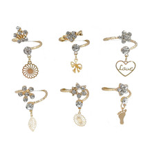 10pcs Fashion Wholesale lots Mixed Style Rhinestone Flower Heart Crown Finger Rings Band for Women недорого