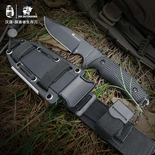 HX Outdoors Survival Hunting knife D2 Steel Fixed Blade Straight Camping knives Multi Tactical Rubber Handle Hand Tools