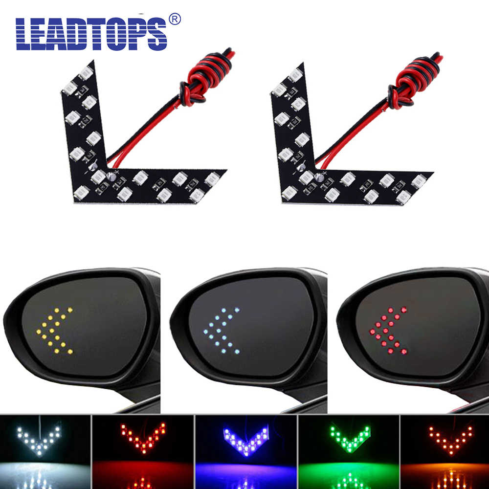 LEADTOPS 2 Pcs/lot 14 SMD LED Arrow Panel For Car Rear View Mirror Indicator Turn Signal Light Car LED Rearview Mirror Light AJ