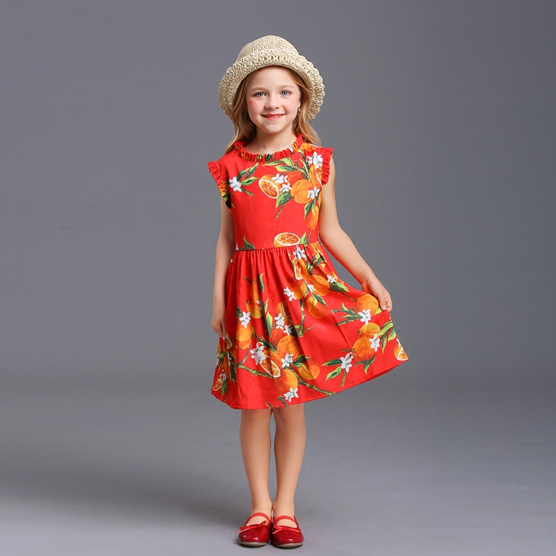 Brand New Summer lemon print pleated sleeveless skirts family suit clothes mother and baby girl dress kids girls fashion dresses