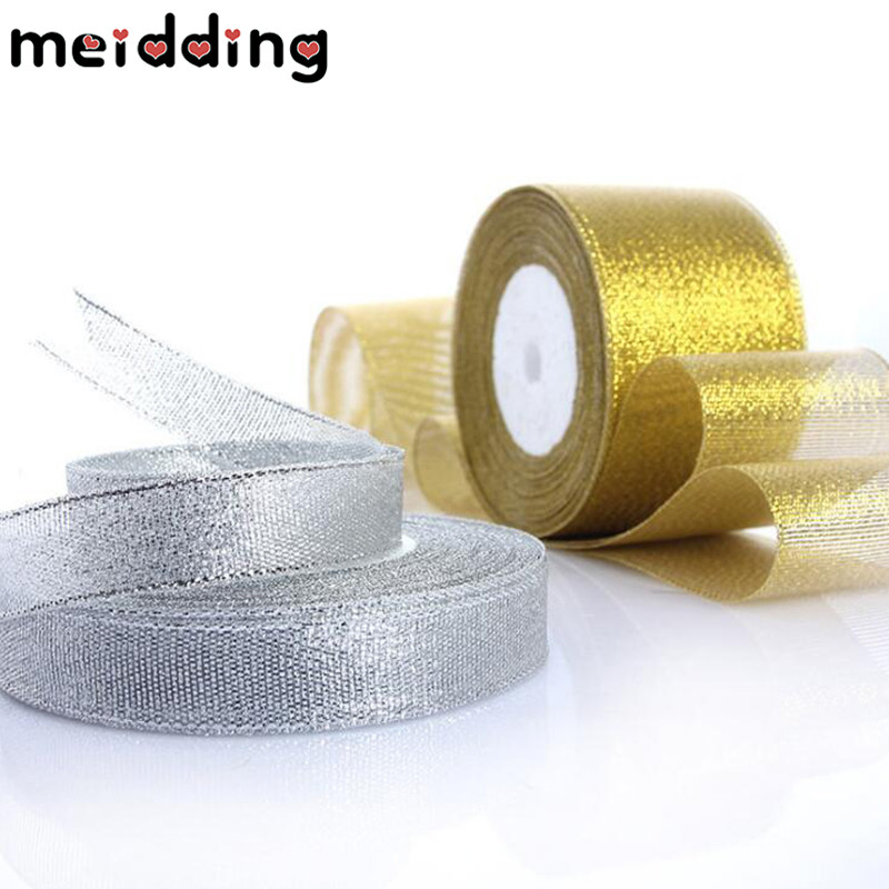 MEIDDING 1pcs Gold/Silver Packing Ribbon Tape Webbing Invitation Card Gift Wrapping Decor Wedding Decor Birthday Party Supplies
