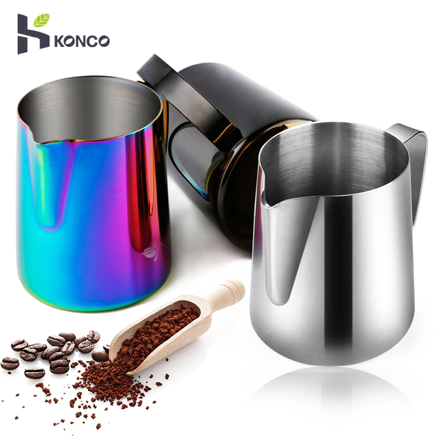 KONCO Espresso Coffee Milk Frothing Pitcher, Stainless Steel Creamer Macchiato Cappuccino Latte Art Making Pitcher Cups-350ml