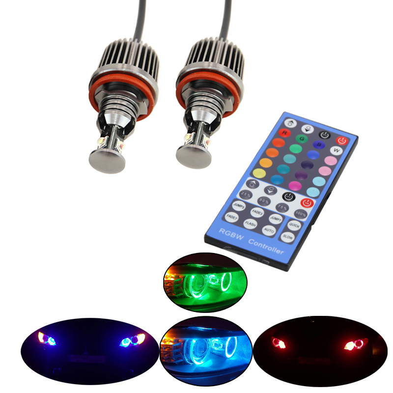 RGB remote Multi-Color LED Angel Eye Kit for BMW E90 E91 E92 E93 E82 E87 E60 E61 E63 color change H8 led marker halo light 2x 10w led marker angel eyes wifi control rgb color change led marker light for 2005 2008 bmw e90 e91 pre facelift models