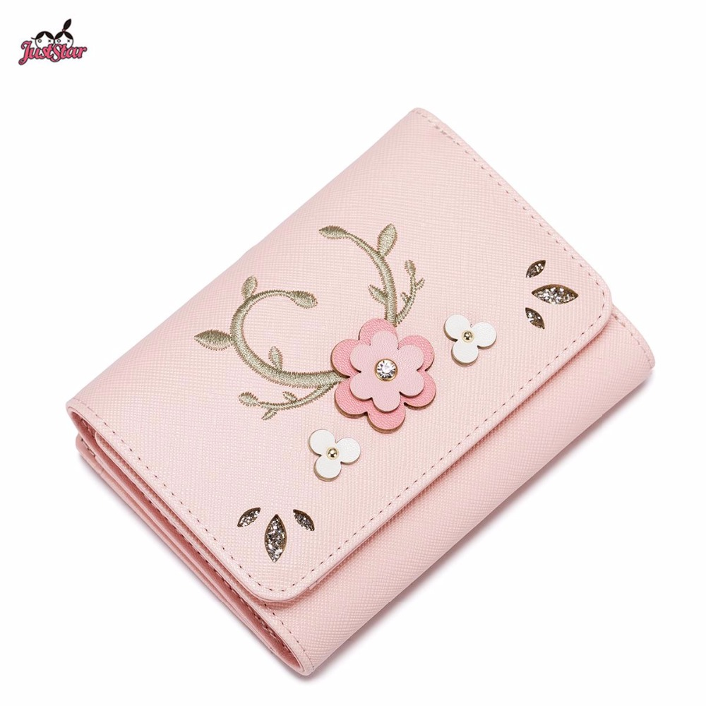 ФОТО Just Star Brand Design Fashion Embroidery Collage Flower PU Women Leather Girls Ladies Small Short Wallets Cards Holder Purse