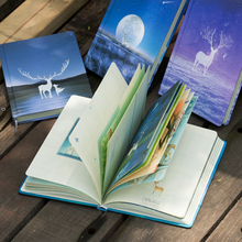 Beautiful Small Fresh Color Page Notebook elk Illustration Diary Book Hardcover Planner School Office Stationery