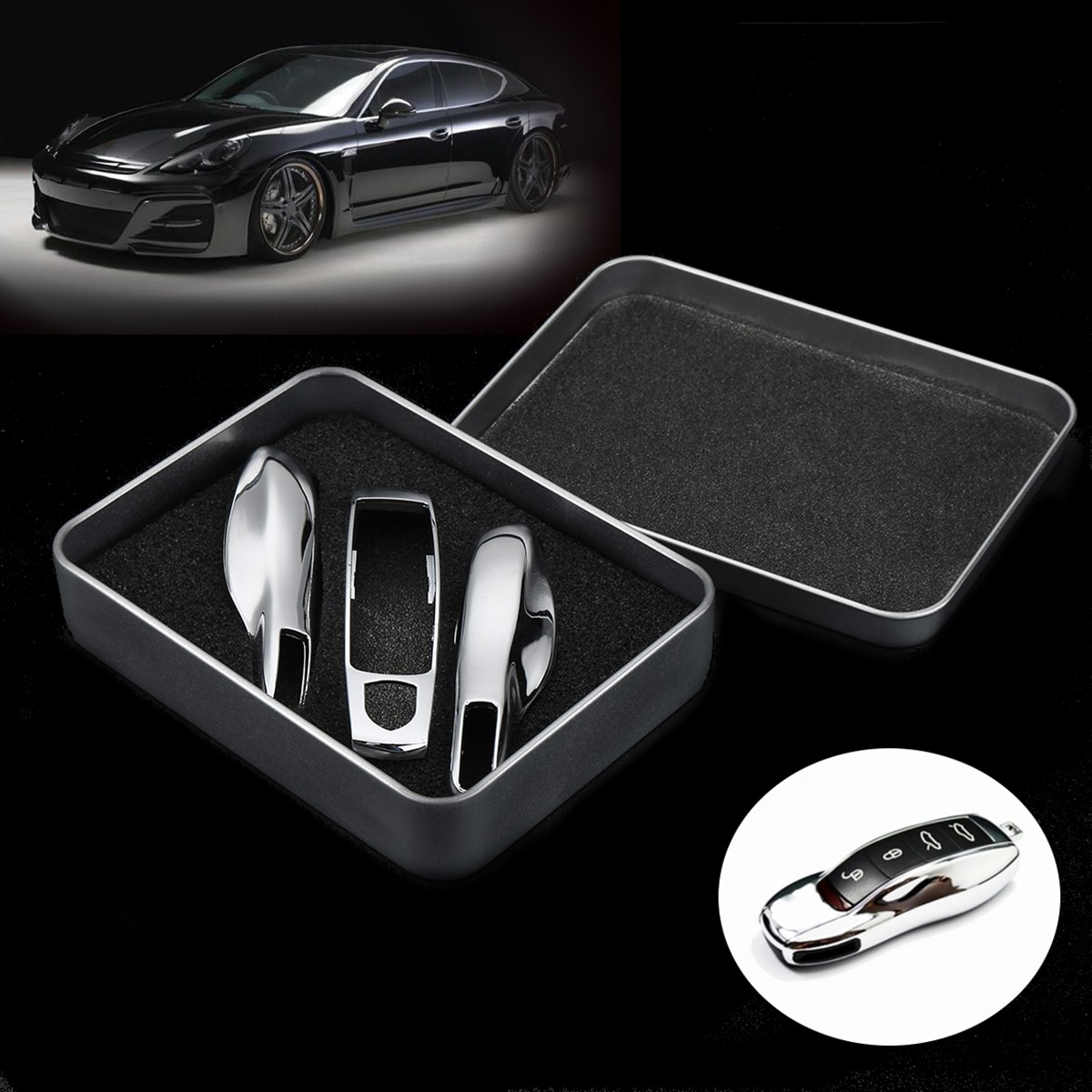3pcs High Quality Chrome Silver Remote Car Key Case Fob Covers Shell For Porsche Panamera Macan Cayman 911 Styling silver