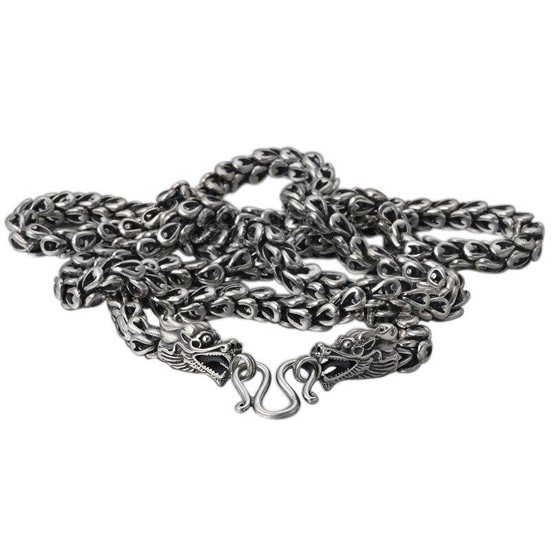 Lourd 6 MM vendu S925 Thai argent tête de Dragon colliers pour hommes Rretro 925 argent Sterling 50-65 cm chaîne colliers livraison directe - 2