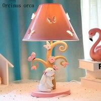 Создание мультфильм кролик настольная лампа девушка спальня принцессы Детская комната лампа прекрасный светодиодный животных настольная