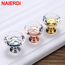 NAIERDI Gold Base Diamond Shape Design Crystal Glass Knobs Cupboard Pulls Drawer Knobs Kitchen Cabinet Handles Furniture Handle cheap Metalworking CN(Origin) Handle-6726 Furniture Handle Knob Singe Hole Modern 30mm Gold Base Silver Base Rose Gold Base