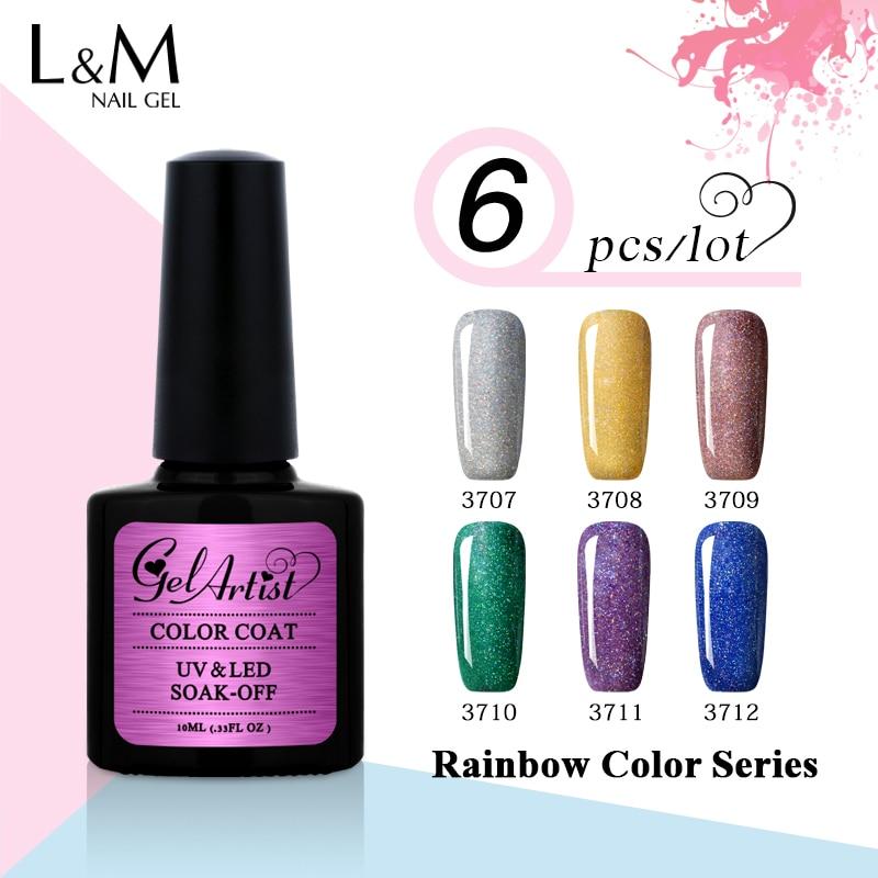 6pcs Brand Gel UV Gelartist de înaltă calitate colorat Rainbow Gel - Manichiură