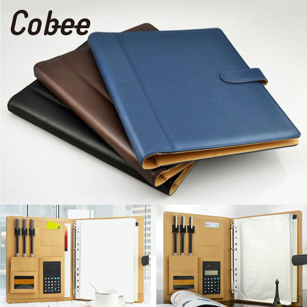 8 Packets File Folder A4 PU Ring Binder Display Notebook Folders With Calculator Document Bag Organizer Business Office Supplies canvas men handbag a4 file folder document bag business briefcase paper storage organizer bag stationery school student gift