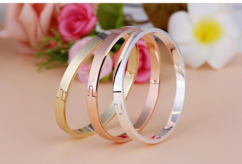 Luxury Lover Cuff Bracelets&Bangles Top Silver Color Brand Couples Simple Glaze Buckle Love Charm Bracelet For Women Or Men 5