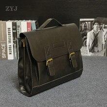 ZYJ Vintage Men's Business Leather Laptop Briefcase Bags SlingTravel Causal Shoulder Messenger Portfolio Bag Lawer Handbag Bolsa