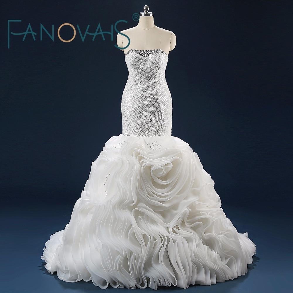 Gambar-gambar sebenar Sequins tak bertali bahu mewah Kristal manik pakaian perkahwinan Mermaid Lace-up Kembali Ruffles meniup Off the Shoulder
