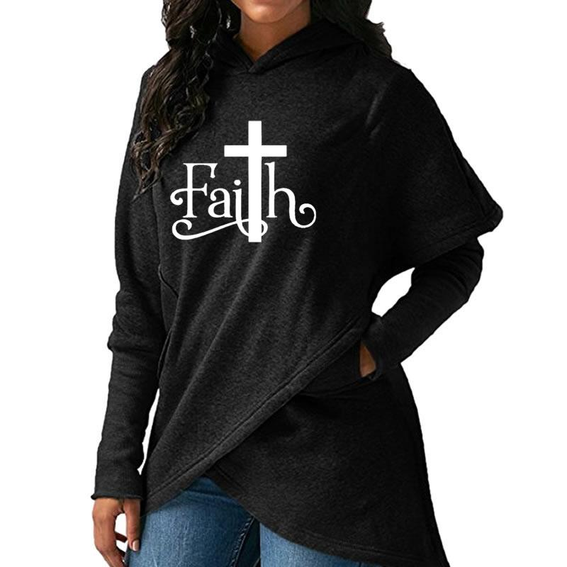 High Quality Large Size 2018 New Fashion Faith Print Sweatshirt Femmes Sweatshirts Hoodies Women Female Clothings