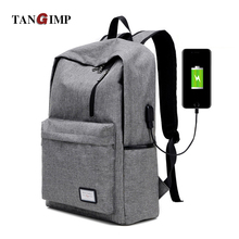 TANGIMP External Charging USB Function Laptop Backpacks Anti-theft Man Business Canvas Dayback Women School Travel Bags 17.7""