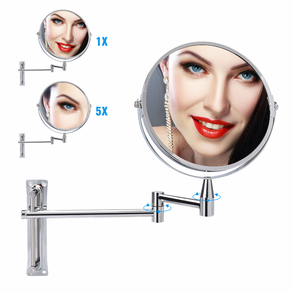 Bathroom Mirror 1X/5X Magnifying Makeup Mirror Wall Mounted 360 Rotating Adjustable Double Sided Cosmetic Arm Extend Mirror
