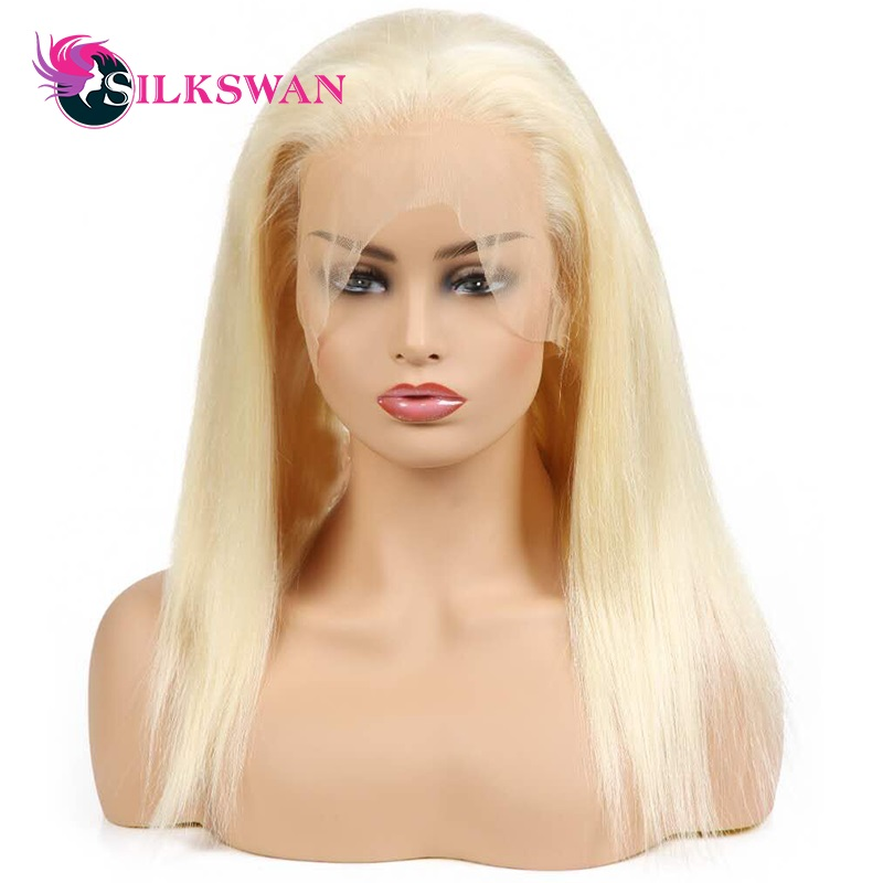 Silkswan Straight 613 Blonde Lace Front Human Hair Wigs 150 Density Brazilian Lace Front Remy Hair