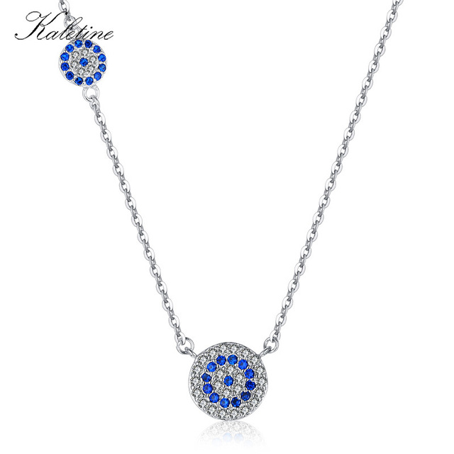 KALETINE Fashion 925 Sterling Silver Evil Eye Necklace Blue CZ Evil Eye  Charm Long Women Necklace Pendants Link Chain KLTN042 bf1cfd54f5