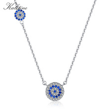 KALETINE Fashion 925 Sterling Silver Evil Eye Necklace Blue CZ Evil Eye Charm Long Women Necklace Pendants Link Chain KLTN042