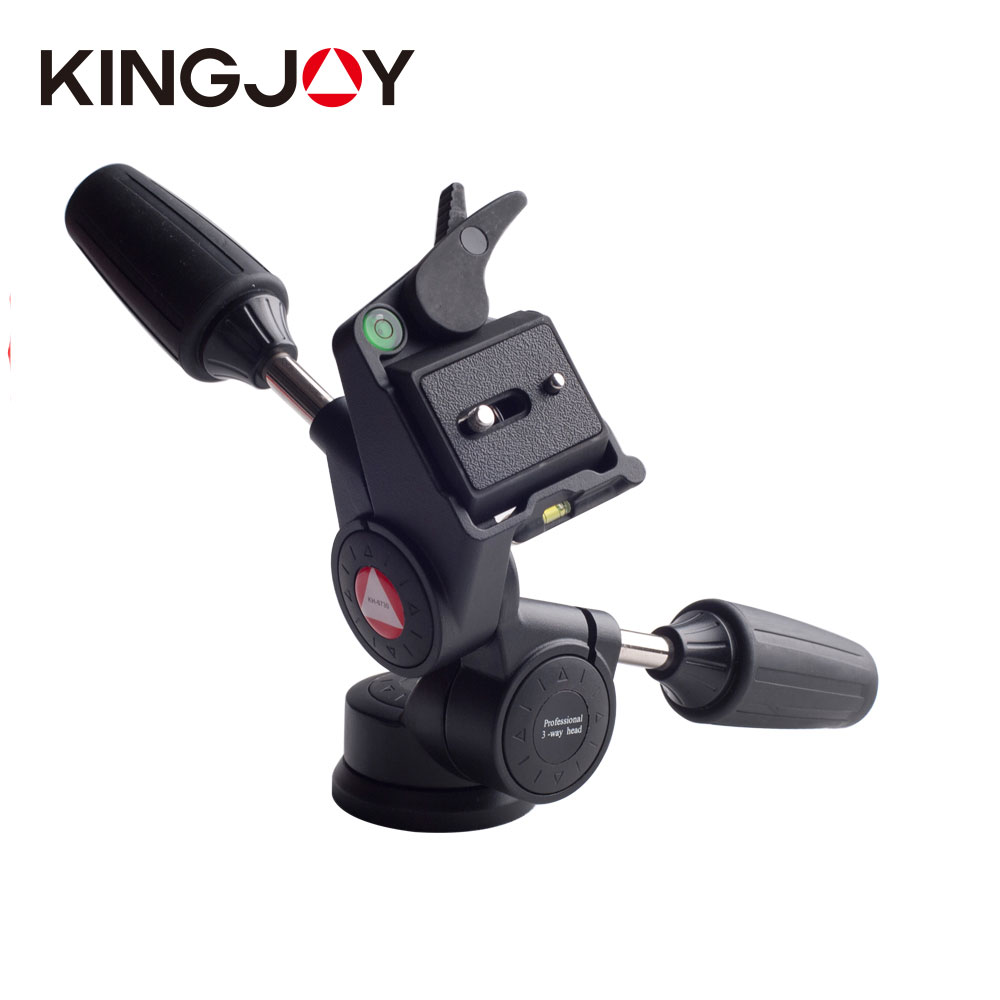 ФОТО Free shipping! Kingjue KH-6730 Professional 3 Way Pan and Tilt Tripod Head with 1/4-Inch Threaded Quick Release Plate