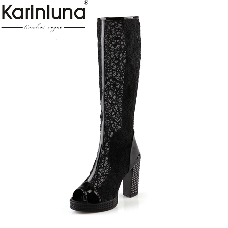 New Arrivals 2018 Big Size 32-43 Sexy Thick High Heels Lace Upper Knee High Summer Boots Platform Casual WomenShoes Woman