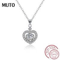 MUTO Heart Necklace Women Charms 925 Sterling Silver Fine Jewelry Necklaces & Pendants for Women Popular Necklace SVXL1930