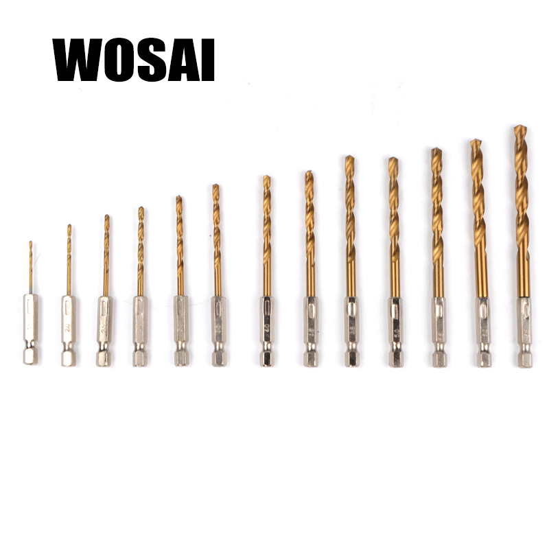 WOSAI 13pcs/set HSS High Speed Steel Titanium Coated Drill Bit Set 1/4 Hex Shank 1.5-6.5mm Electric Drill Twist Drill Bit drillpro 3pcs hss spiral grooved center drill bit 4 12 20 32mm solid carbide mini drill accessories titanium step cone drill bit